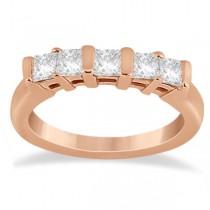 5 Stone Princess Cut Channel Set Diamond Ring 18k Rose Gold (0.50ct)