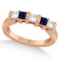5 Stone Diamond & Blue Sapphire Princess Ring 14K Rose Gold 0.56ct