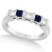 5 Stone Diamond & Blue Sapphire Princess Ring 14K White Gold 0.56ct