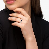 5 Stone Diamond & Blue Sapphire Princess Ring 14K White Gold 0.56ct