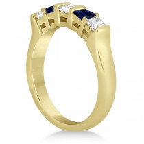 5 Stone Diamond & Blue Sapphire Princess Ring 14K Yellow Gold 0.56ct