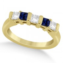 5 Stone Diamond & Blue Sapphire Princess Ring 18K Yellow Gold 0.56ct