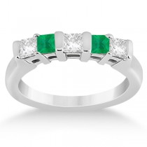 5 Stone Diamond & Green Emerald Princess Ring 18K White Gold 0.56ct