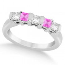 5 Stone Diamond & Pink Sapphire Princess Ring 14K White Gold 0.56ct
