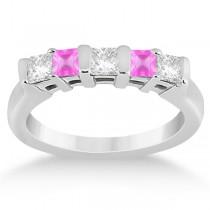 5 Stone Diamond & Pink Sapphire Princess Ring 14K White Gold 0.56ct