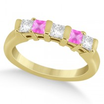 5 Stone Diamond & Pink Sapphire Princess Ring 14K Yellow Gold 0.56ct