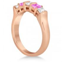 5 Stone Diamond & Pink Sapphire Princess Ring 18K Rose Gold 0.56ct