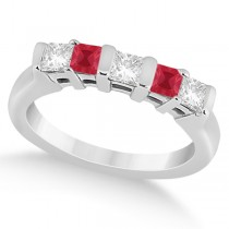 5 Stone Princess Diamond & Ruby Wedding Band 14K White Gold 0.56ct