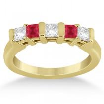 5 Stone Princess Diamond & Ruby Wedding Band 14K Yellow Gold 0.56ct