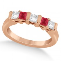 5 Stone Princess Diamond & Ruby Wedding Band 18K Rose Gold 0.56ct
