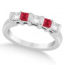 5 Stone Princess Diamond & Ruby Wedding Band 18K White Gold 0.56ct