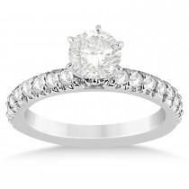 Diamond Accented Engagement Ring Setting 18k White Gold 0.54ct