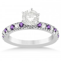 Amethyst & Diamond Accented Engagement Ring Setting 18k White Gold 0.54ct