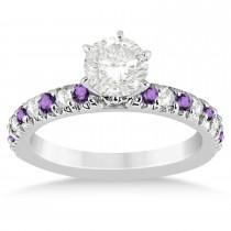 Amethyst & Diamond Accented Engagement Ring Setting Platinum 0.54ct