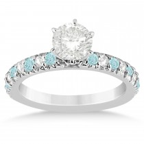Aquamarine & Diamond Engagement Ring Setting 14k White Gold 0.54ct