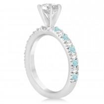Aquamarine & Diamond Accented Engagement Ring Setting 14k White Gold 0.54ct