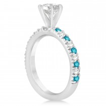 Blue Diamond & Diamond Accented Engagement Ring Setting 14k White Gold 0.54ct