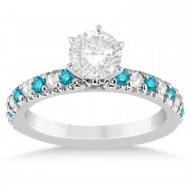 Blue Diamond & Diamond Accented Engagement Ring Setting 18k White Gold 0.54ct