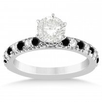 Black Diamond & Diamond Engagement Ring Setting 14k White Gold 0.54ct