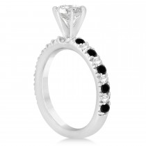 Black Diamond & Diamond Accented Engagement Ring Setting 14k White Gold 0.54ct