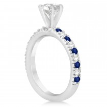Blue Sapphire & Diamond Accented Engagement Ring Setting 14k White Gold 0.54ct