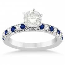 Blue Sapphire & Diamond Accented Engagement Ring Setting 18k White Gold 0.54ct