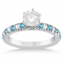 Blue Topaz & Diamond Accented Engagement Ring Setting 14k White Gold 0.54ct