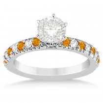 Citrine & Diamond Accented Engagement Ring Setting 14k White Gold 0.54ct