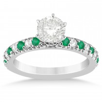Emerald & Diamond Accented Engagement Ring Setting 14k White Gold 0.54ct