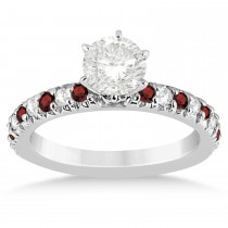 Garnet & Diamond Accented Engagement Ring Setting 14k White Gold 0.54ct