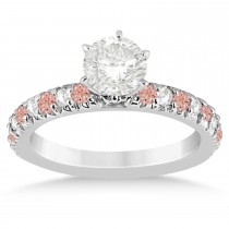 Morganite & Diamond Accented Engagement Ring Setting 14k White Gold 0.54ct