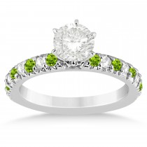Peridot & Diamond Engagement Ring Setting 14k White Gold 0.54ct
