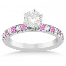 Pink Sapphire & Diamond Engagement Ring Setting 14k White Gold 0.54ct