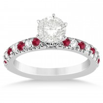 Ruby & Diamond Accented Engagement Ring Setting 14k White Gold 0.54ct