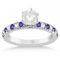 Tanzanite & Diamond Accented Engagement Ring Setting Platinum 0.54ct