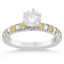 Yellow Diamond & Diamond Accented Engagement Ring Setting 14k White Gold 0.54ct