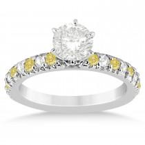 Yellow Diamond & Diamond Engagement Ring Setting 14k White Gold 0.54ct
