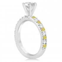 Yellow Diamond & Diamond Accented Engagement Ring Setting Platinum 0.54ct