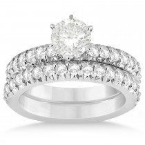 Diamond Accented Bridal Set Setting 14k White Gold (1.14ct)