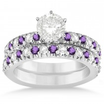 Amethyst & Diamond Accented Bridal Set 14k White Gold 1.14ct