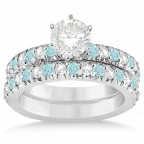 Aquamarine & Diamond Bridal Set Setting 14k White Gold 1.14ct