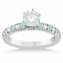Aquamarine & Diamond Accented Bridal Set 14k White Gold 1.14ct