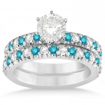 Blue Diamond & Diamond Accented Bridal Set 14k White Gold 1.14ct