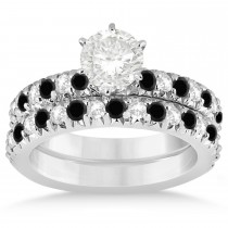 Black Diamond & Diamond Accented Bridal Set 14k White Gold 1.14ct
