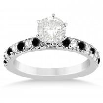 Black Diamond & Diamond Accented Bridal Set 14k White Gold 1.14ct