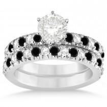 Black Diamond & Diamond Accented Bridal Set Palladium 1.14ct