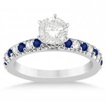 Blue Sapphire & Diamond Accented Bridal Set 14k White Gold 1.14ct