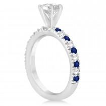 Blue Sapphire & Diamond Bridal Set Setting 14k White Gold 1.14ct