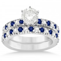 Blue Sapphire & Diamond Bridal Set Setting 18k White Gold 1.14ct