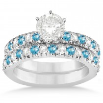 Blue Topaz & Diamond Accented Bridal Set 14k White Gold 1.14ct
